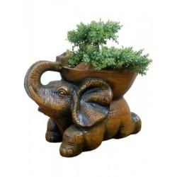 Brown Elephant Shaped Plant Pot