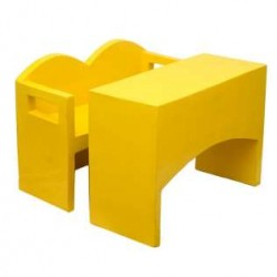 Yellow Flawless Desk & Bench For Kids(10 Set )