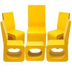 Yellow Chair & Table Set Of 5