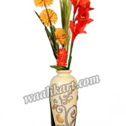 Black and Off White Embossed Design Vase