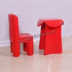 Kids Burly Fiber Red Long Table And Chair Set