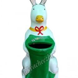 Rabbit Dustbin With Green Basket