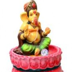Lord Ganesha Sitting In Lotus Fountain