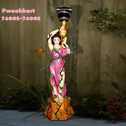 Traditional French Lady Statue Holding Lamp