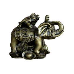 Frog On Elephant Paper Weight Cum Vastu Table Top Showpiece