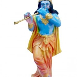 Traditional Statue of Lord Krishna with Decorative Flute