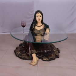 Gorgeous Lady Holding Glass in Sitting Position-Fancy Table