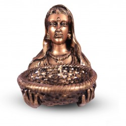 Lady Faced Statue With Small Basket- Golden