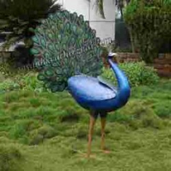Peacock Fiber Statue With Open Feathers