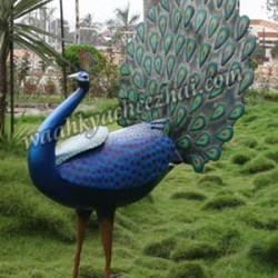 Attractive Peacock Fiber Statue with Open Feathers
