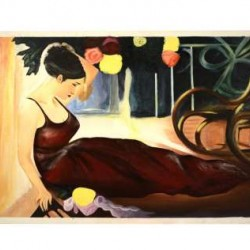 Hand-made Canvas Painting Of A Lady