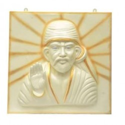 Sai Baba 3D Wall Mural In White And Golden Shade