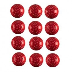 12 Nos PU Dimple Cricket Ball-Red