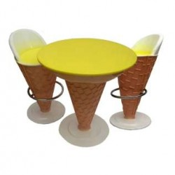 Ice Cream Shape -Set Of 1 Table And 2 Chairs
