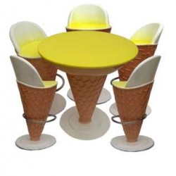 Ice Cream Shape -set Of 1 Table And 5 Chairs