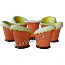Ice Cream Shaped -Set Of 6 Chairs And 1 Table
