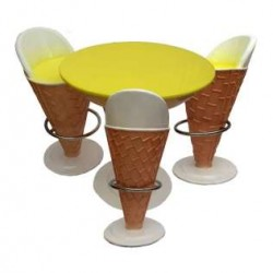 Ice Cream Shaped -set Of 1 Table And 3 Chairs