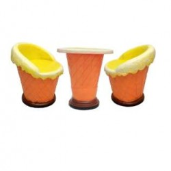 Ice Cream Shaped Chair - Set Of 2 Chairs And 1 Table