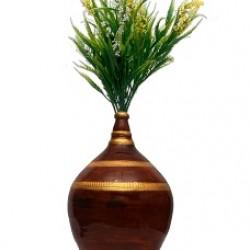 Maroon/Golden Money Bank With Flower Pot