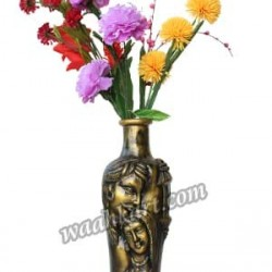Golden Coloured Village Couple Face Vase