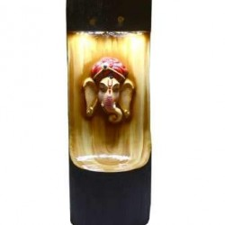 Wooden Look Ganesha Face With Light And Fountain Stand