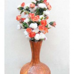 Isolated, Earthen Look Flower Vase In Brown