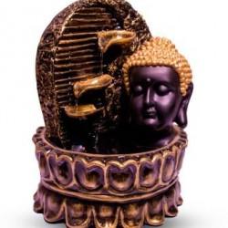 Lord Buddha Face Diya Fountain - Metallic Color