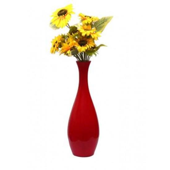 Decorative Plain Flower Vase Red