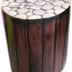 Dark Brown Wooden Look Stool