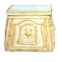 Decorative Stool As A Side Table In Cream Color