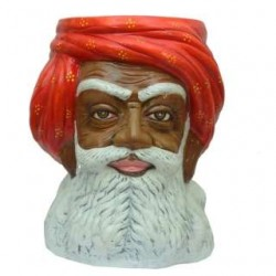 Rajasthani Man Face Side Stool -Dark Shade
